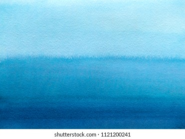 Hand painted blue watercolor background. Watercolor wash. Blue brush strokes background design isolated