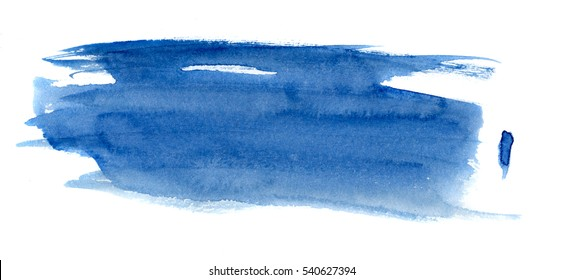 hand painted blue watercolor brushstroke stains, isolated on white, abstract background for trendy design