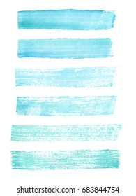 Hand painted blue watercolor grunge brush strokes. Textures for your design.