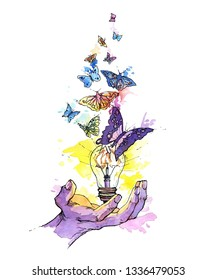 Hand painted bright  watercolor artwork. Earth day. A hand with a light bulb and butterflies flying out of it. Earth day concept. Isolated on white.