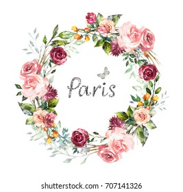 hand painted Card, Watercolor invitation design with pink roses, bud, leaves. flower, background with floral elements for text, watercolor illustration. Vintage Template. wreath, round frame
