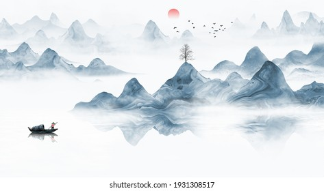 Hand painted Chinese style blue ink landscape painting