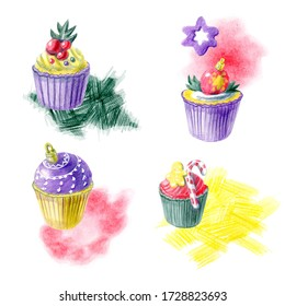 Hand painted christmas arrangments with cupcakes, abstract spots and different decorations. Yellow, red, purple and green color palette. For templates, menu cards, invitation greeting and postcards.
