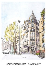 Hand painted color sketch of Paris street