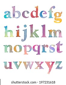 Hand Painted Colorful Watercolor Alphabet Letters. Rainbow Colored ABCs