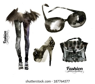 Hand painted contemporary fashion illustration