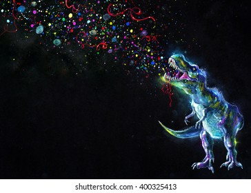 Hand painted crystal glowing Tyrannosaurus Rex emitting rainbow party sparkles in space on black background