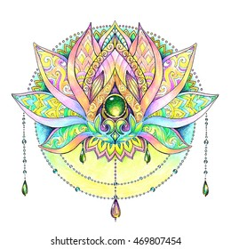 Hand painted drawing mandala, lotus, graphically ornament from flower