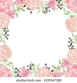 hand painted floral border with rose peony decoration pastel color