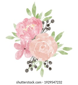 hand painted floral bouquet with rose peony decoration pastel color