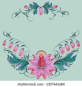 Hand painted floral ornament in petrykivka style, template for greeting card, invitation or poster