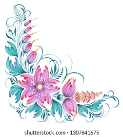 Hand painted floral ornament with purple flowers in petrykivka style, template for greeting card, invitation or poster.