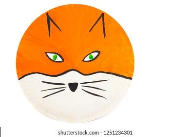 Hand painted fox animal on paper plate