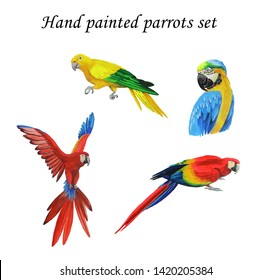 hand painted with gouache isolated set realistic exotic parrots. Sitting, flying birds, multicolor, vibrant. Macaws and golden parakeet parrots.