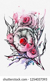 Hand painted graphic on watercolor background, floral composition