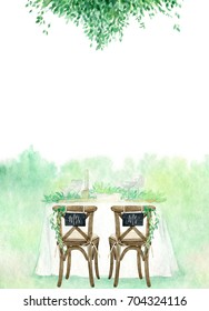 Hand painted greenery border with wedding table and chairs on white background. Mrs. and Mr. Watercolor wedding template for invitation or menu with a place for your text. Card design in rustic style.