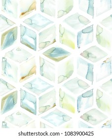 Hand painted greenish watercolor diamond hexagon allover seamless pattern in repeat