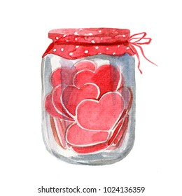 Hand Painted Greeting Card for Congratulations to the St. Valentines Day with Red Heart Shaped Candies or Cookies in Glass Jar. Watercolor Art on White Background