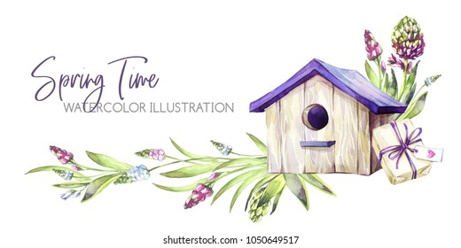 Hand painted horizontal border with Hyacinths flowers, leaves and birdhouse. Spring rustic watercolor illustration in violet shades. Horticulture hobby. Can be used for a poster, wedding desings
