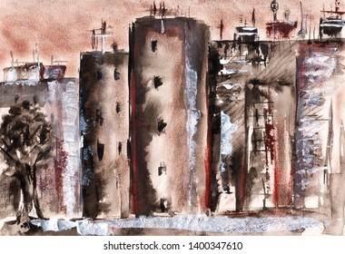 hand painted houses abstrakt skyline