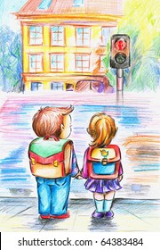 Hand painted illustration of children who waiting on green light.