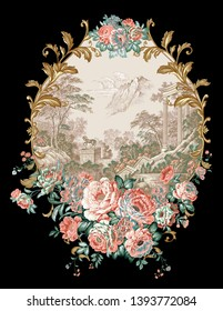Hand painted landscape.Golden elements in baroque, rococo style.Vintage flowers.