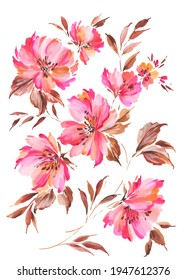 hand painted large scale artistic peony flowers with beige leaves. Trailing floral motif.