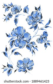 hand painted loose large scale blue and black open lush flowers on white background.  Poppy stylized flowers with leaves. Trailing floral composition
