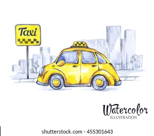 Hand painted mini taxi car in the city. Retro Yellow Beetle Car. Watercolor vintage illustration. Traveling. Transport.