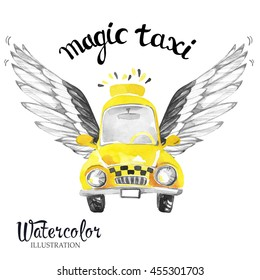 Hand painted mini taxi car with magic wings. Retro Yellow Beetle Car. Watercolor vintage illustration. Traveling. Fairy transport.