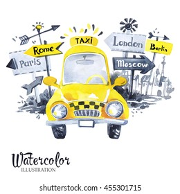 Hand painted mini taxi car with city banners.  Retro Yellow Beetle Car. Vacation. Watercolor vintage illustration. Traveling around the world. Transport.