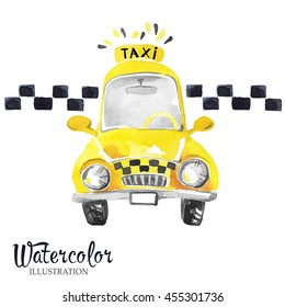 Hand painted mini taxi car. Retro Yellow Beetle Car. Watercolor vintage illustration. Traveling. Transport.