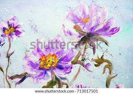 Royalty free stock illustration of hand painted modern style purple hand painted modern style purple peonies flowers spring flower seasonal nature background oil painting mightylinksfo