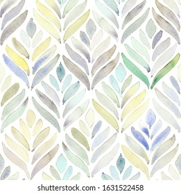 Hand painted multicolor watercolor leaf like arabesque floral geometrical shell allover seamless pattern