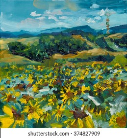 Hand painted mural oil painting with sunflowers field
