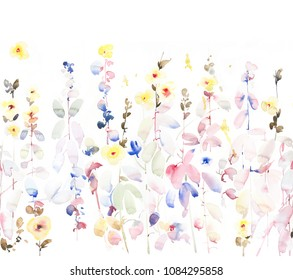 Hand painted one side repeated border with watercolor flowers and plants from the bottom