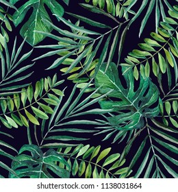 Hand painted palm and monstera leaves seamless pattern on bark blue background. Tropical background. Concept for textile, wallpaper, fabric, invitation, wrapping paper, stationery design.