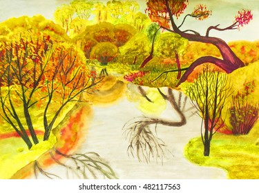 Hand painted picture, watercolours, autumn landscape with trees and river.