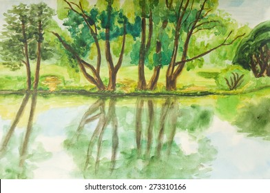 Hand painted picture, watercolours, summer landscape with trees on bank of lake in park. Size of original 37 x 24,5 sm.