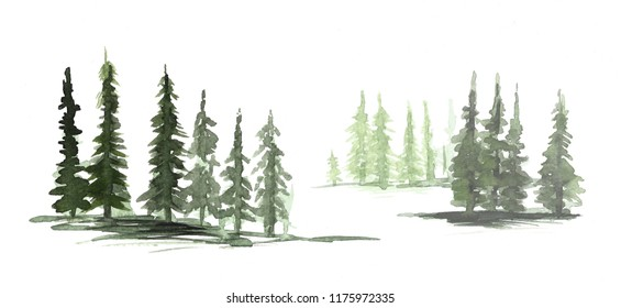 hand painted pine tree line. Watercolor woods texture grungy style
