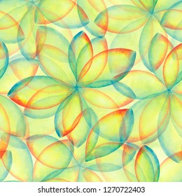 Hand painted print in impressionism style. A lawn green, lime color abstract background. Hand drawn seamless watercolor repeat pattern with circles and triangles.Watercolour flowers for scrapbooking