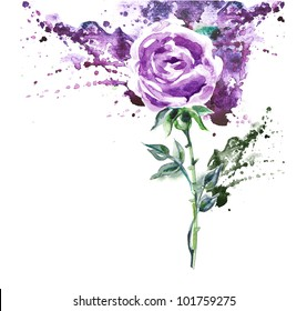Hand Painted Purple Rose