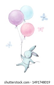Hand painted rabbit fly. Watercolor bunny with air balloons illustration. Cute animal isolated on white background. Cartoon hare.