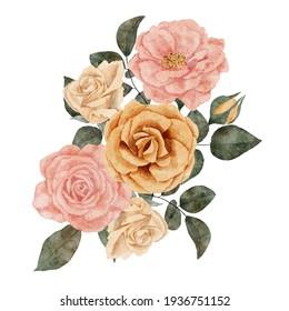 hand painted rose floral arrangement element illustration in pastel color