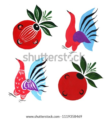 Hand painted Russian and Ukranian design element set. Red and blue stylized decorative birds and berries isolated on white background.