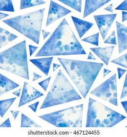 Hand painted seamless geometric triangle pattern. Abstract blue watercolor splash water shapes texture background