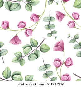 Hand Painted Seamless Pattern of Watercolor Light Green Leaves and Little Pink Flowers