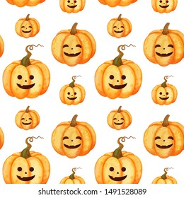 Hand painted seamless watercolor pattern with halloween pumpkin