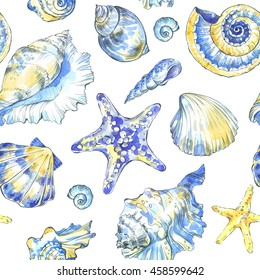 Hand painted seashells pattern. Watercolor vintage ocean background. Original hand drawn illustration. Marine design. Tropical shell, starfish texture.