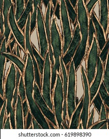 hand painted seaweed wallpaper. exotic grass seamless pattern. tropical illustration for textile and surface design